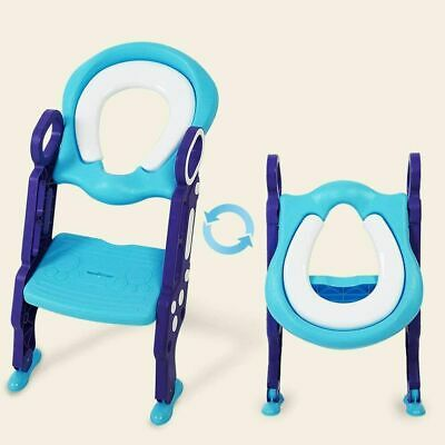 Childrens Toilet Seat & Ladder Toddler Easy Fold Down Training Seat With Ladder • 14.99£