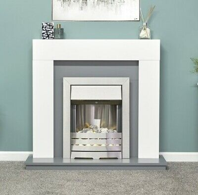 £335 • Buy Electric Fire White Grey Fireplace Surround Hearth Brushed Steel Pebbles Bnib