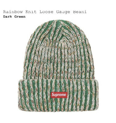 $ CDN82.08 • Buy New Authentic Supreme Beanie Rainbow Knit Loose Dark Green Ready To Ship In Hand