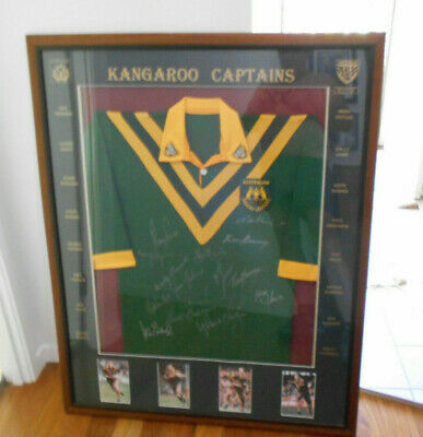 AU400 • Buy #bt. Framed Rugby League Kangaroos  Signed Captains Jersey - Sydney To Tweed