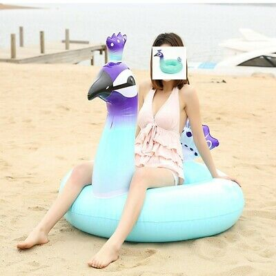 Peacock Giant Inflatable Round Swim Ring Pool Float Beach Swimming Lounger Row • 6.79£