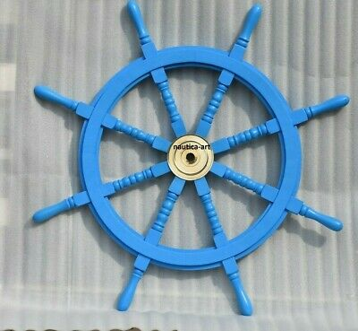 36 Inch Wooden Ship Steering Wheel Pirate Décor Wooden Brass Finishing Wall Boat • 62.99£