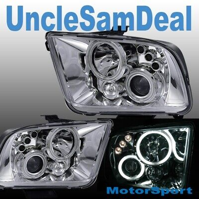 $194.99 • Buy For 05-09 Ford Mustang X-bright Led Halo Rims Clear Projector Headlights Chrome