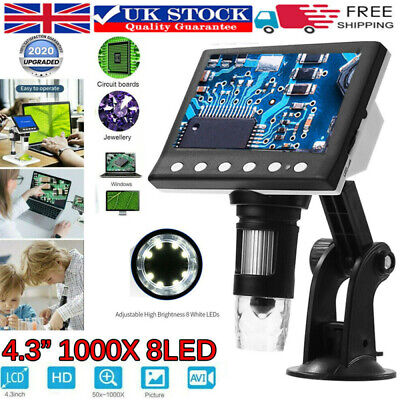 4.3 1000X HD LCD Monitor Electronic Digital Video Microscope 8LED Magnifier • 27.99£