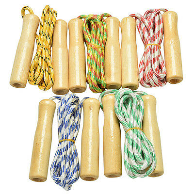 AU9.61 • Buy Kids Skipping Rope Wooden Handle Jump Play Sport Exercise Workout Toy AOFSH;AU