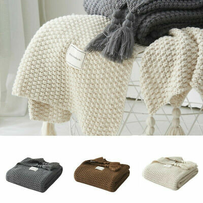 Soft Knitted-Blanket-Artificial-Cashmere Shawl Sofa Blanket Nap Throw Bedroom UK • 26.99£