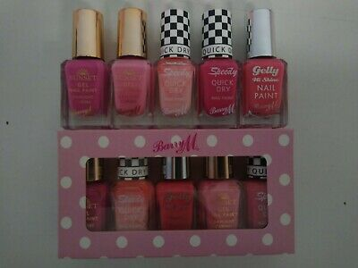Barry M Nail Paint Polish Varnish 5 Pc Gift Box Set Pink Tones Matte Gel Classic • 9.99£