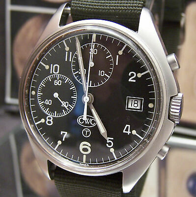 $ CDN3018.83 • Buy Vintage Cwc Military Swiss Valjoux Cal 7765 + Date Black Dial Chronograph Watch