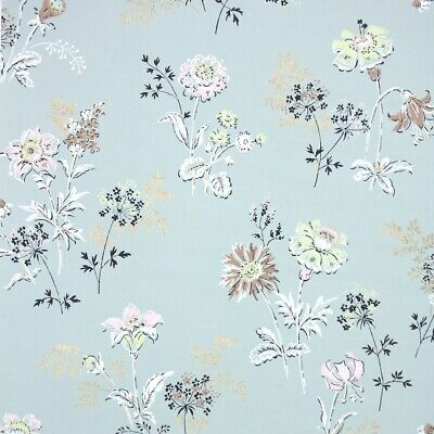 £32.59 • Buy 1950s Floral Vintage Wallpaper Pastel Pink Yellow Green Brown Flowers W/ Gold