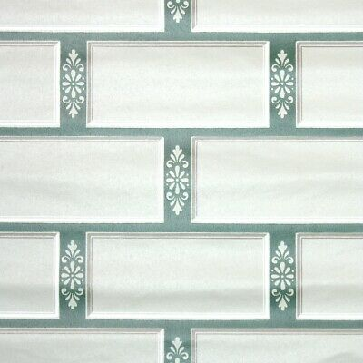 £32.60 • Buy 1950s Faux Tile Vintage Wallpaper Gray And Green Tiles