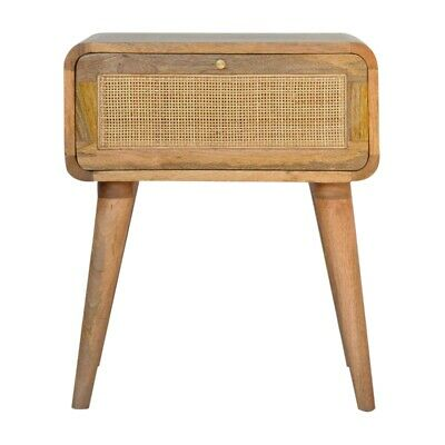 Bedside Table Light Mango Wood Rattan Storage Drawer Brass Handle Scandinavian • 139£
