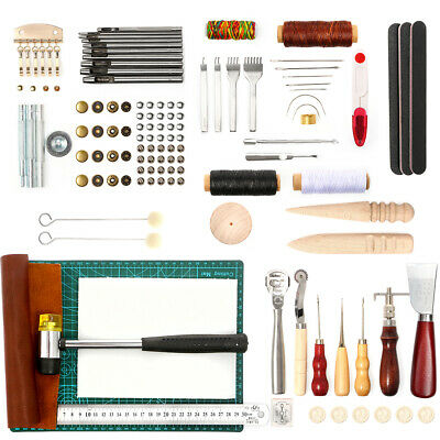 £24.99 • Buy Leather Craft Working Punch Stitching Set DIY Leather Tool Kit With Cutting Mats