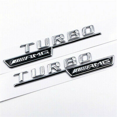 2x Gloss Black Turbo AMG For Mercedes Fender Sides Letters Emblem Badge • 10.99£