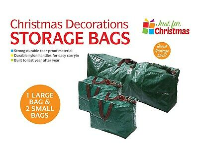 3 X CHRISTMAS TREE DECORATIONS STORAGE BAGS HANDLES HEAVY DUTY ZIP HOLDER FT • 9.99£