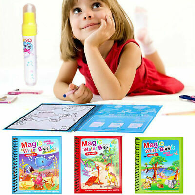 Water Drawing Book Magic Doodle Coloring Book Learning Painting & Pen For Kids • 3.99£