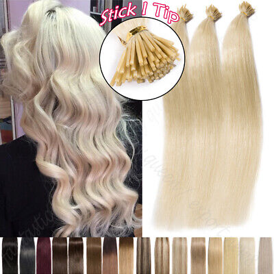 Russian Stick I Tip Remy Human Hair Extensions Thick 1g/Strand Per Bonded Blonde • 24.53£