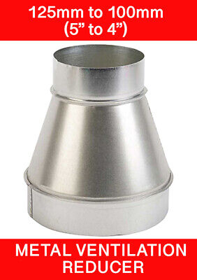 125 To 100mm Metal Ventilation Reducer Hydroponics Grow Room Duct 5  To 4   • 7.98£