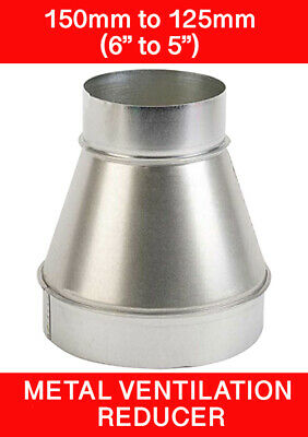 150 To 125mm Metal Ventilation Reducer Hydroponics Grow Room Duct 6  To 5   • 8.95£