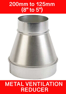 200 To 125mm Metal Ventilation Reducer Hydroponics Grow Room Duct 8  To 5   • 10.45£