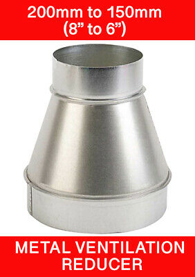 200 To 150mm Metal Ventilation Reducer Hydroponics Grow Room Duct 8  To 6   • 10.45£