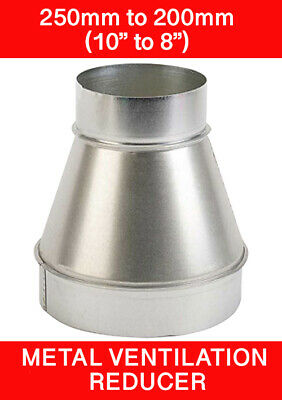 250 To 200mm Metal Ventilation Reducer Hydroponics Grow Room Duct 10  To 8   • 12.95£