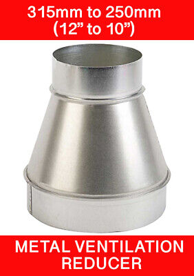 315 To 250mm Metal Ventilation Reducer Hydroponics Grow Room Duct 12  To 10   • 14.45£