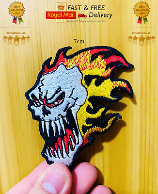 £1.99 • Buy SKULL ON FIRE Embroidered Sew/Iron On Patch Badge Jacket Jeans Transfer N-16