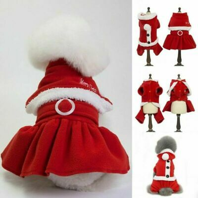 Pet Dog Puppy Cat Santa Claus Costume Warm Coats Outfits Fun Christmas Cosplay • 5.98£