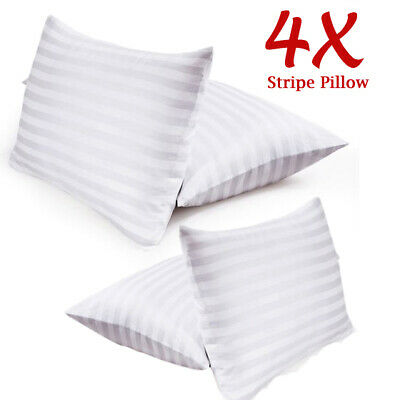 Pack Of 4 Hotel Quality Egyptian Stripe Pillows Luxury Soft Hollowfibre Filled • 13.88£
