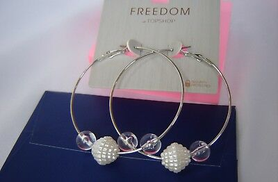 Topshop Silver Tone Hoop Earrings With Beads NEW • 10£