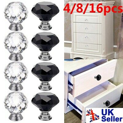 Clear Crystal Diamond Glass Door Knobs Cupboard Drawer Furniture Handle Cabinet • 16.99£