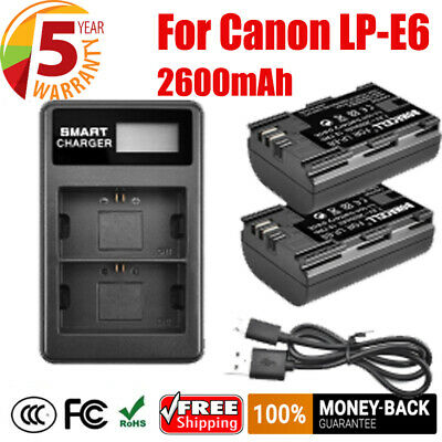 2X 2600mAh LP-E6 Battery +LCD Dual Charger For Canon EOS 70D 60D Mark II Camera • 17.49£