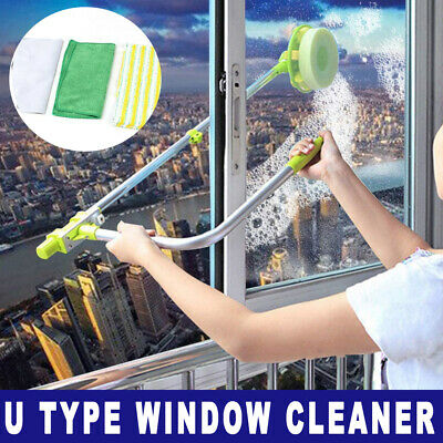 U Type Window Cleaner Telescopic Glass Cleaning Kit Squeegee DUST CLEAN BRUSH UK • 18.88£