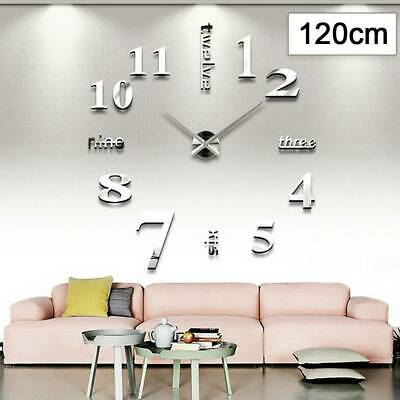 Large DIY 3D Frameless Number Wall Clock Mirror Sticker Home Office Room Decor- • 4.99£