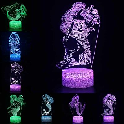 The Mermaid 3D Visual Night Light 7 Color LED Touch Table Lamp Kids Xmas Gift • 9.87£