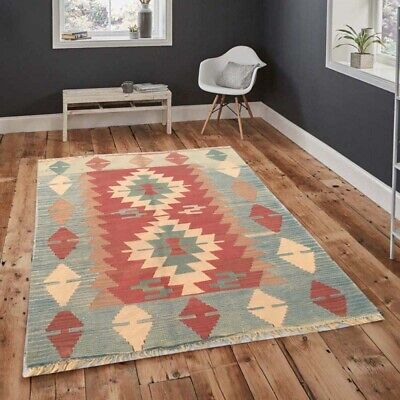 103 Vintage Turkish Kilim Handmade Anatolian Rug Floor Home Decor Floral Rug 3x4 • 50£