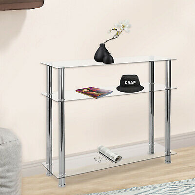 Modern Hallway Glass Console Table Clear Glass Chrome Legs 3 Tier Hall Table UK • 47.79£