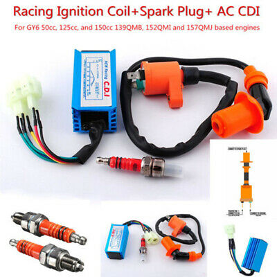 $29.45 • Buy 6 Pins Racing Hi Performance CDI+Ignition Coil+Spark Plug For Gy6 Scooter ATV