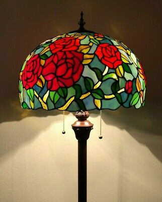 Tiffany Style Floor Lamp Rose Flower Stained Glass Antique Vintage W16*H64Inch • 201.88£