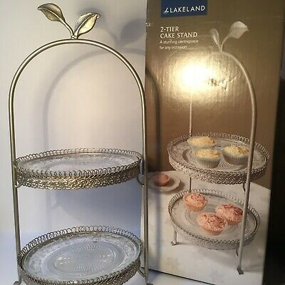Lakeland 2 Tier Ornate Glass Plated Cake Stand Footed *NEW IN BOX*  • 39.95£