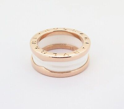 AU1990 • Buy .auth Bvlgari 18k Rose Gold & White Ceramic B Zero 1 Ring Size 51