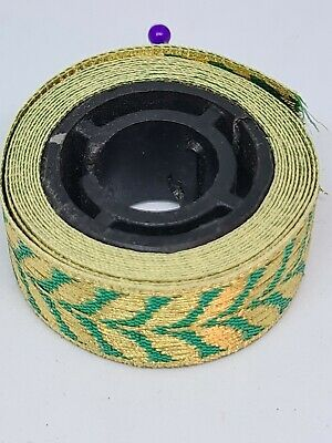 Green & Gold Embroidery Indian Sari Border Lace Ribbon Trim Craft Roll 18mm - 1m • 3£