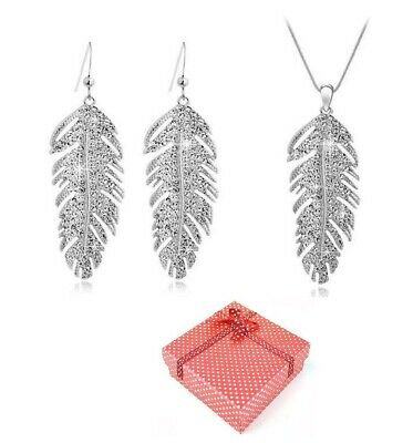 £19.99 • Buy White Gold Feather Necklace Earrings Jewellery Set Made With Swarovski® Crystals
