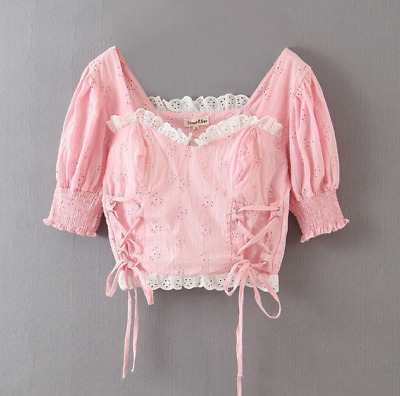 Pink Vintage Lace Blouse Kawaii Square Neck Tie Up Puff Sleeves Palace Style Top • 23.09£