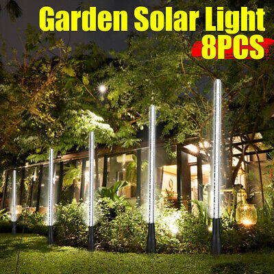 8X LED Lights Solar Power Bubble Stake Garden Patio Lamps White Outdoor Pathway • 14.85£