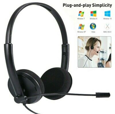 USB Noise Cancelling Headset Headphones + Microphone For PC Laptop Call Center • 10.28£