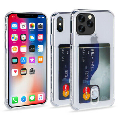 AU13.28 • Buy For IPhone 11 Pro Max XS 8 Plus Clear Wallet Credit Card Holder Stand Case Cover