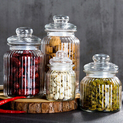 Glass Jars With Lid Beans Coffee Storage Bottle Spice Mini Candy Jar 300-1350ml • 11.30£