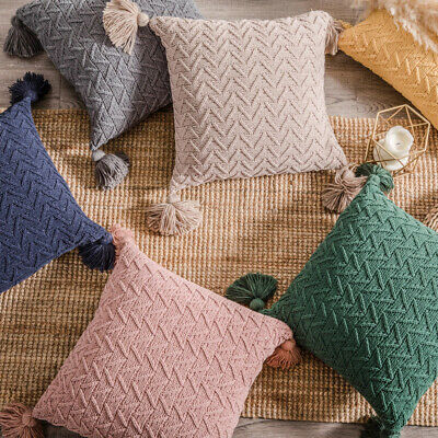 Tassel Cushion Covers Chenille Knitted Chevrons Pattern Pillow Case Home Decor • 10.14£
