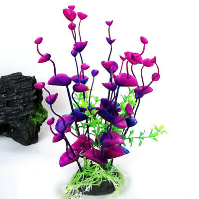 Artificial Fake Grass Fish Tank Aquatic Aquarium Plants Flower Plastic Ornament • 6.38£